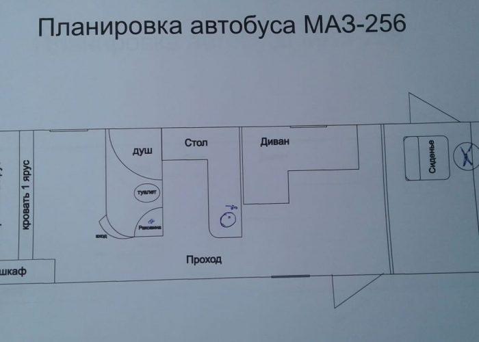 Планировка автодома из автобуса